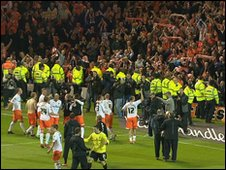Blackpool players celebrate their victory
