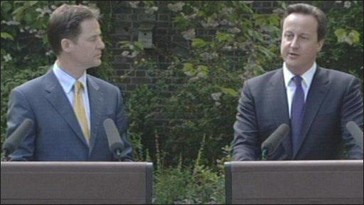 Nick Clegg, deputy Prime Minister and David Cameron, Prime Minister