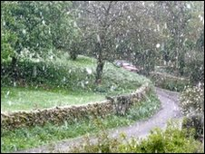 Pic of snow in Elton, Peak District. Pic sent by John Wright