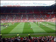 Celebrities on the pitch at Old Trafford