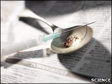 a needle and heroine on a spoon
