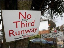 No third runway signs in the village of Sipson near Heathrow Airport