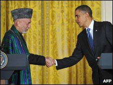 Afghan President Hamid Karzai and US President Barack Obama