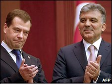 Russian President Dmitry Medvedev and Turkish President Abdullah Gul