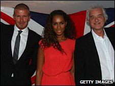 David Beckham, Leona Lewis and Jimmy Page at the Olympics handover in Beijing
