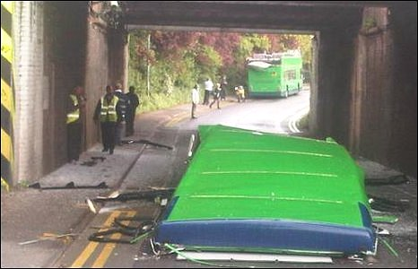 Bus missing its roof