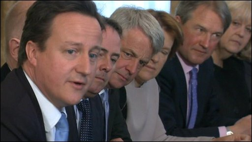 David Cameron holds first cabinet meeting