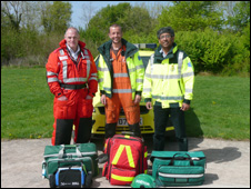 Left to right: Doctors Mike Bloom, Ben Warrick and Suman Mitra, members of the North Wales Emergency Doctor Service
