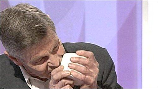 Matthew Parris eats a mug