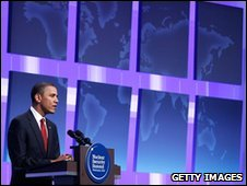 President Barack Obama speaks at the Nuclear Security Summit on 13 April 2010