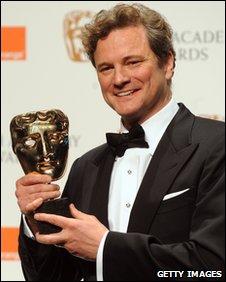 Colin Firth with a BAFTA