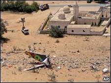 The wreckage of Afriqiyah Airways Flight 771