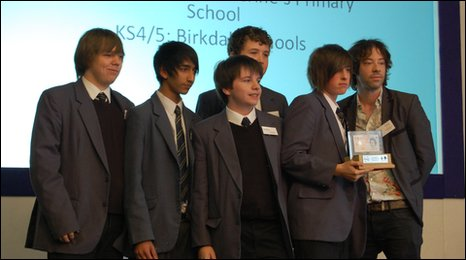 Pupils from Birkdale School in Sheffield accept their award from entrepreneur Michael Smith