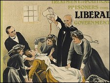 A poster image showing suffragette force feeding