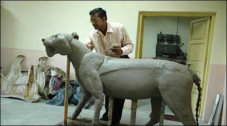 Taxidermist at work in Mumbai
