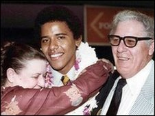 Obama with his grandparents at his high school graduation in Hawaii