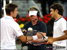 Roger Federer (right) and Stanislas Wawrinka in Madrid
