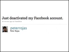 tweet about someone deleting their Facebook account