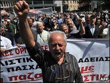 Greek pensioner at protest