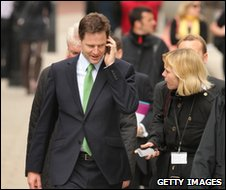 Nick Clegg on the phone