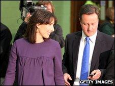 David Cameron checks his phone