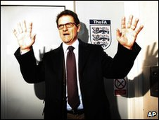 Fabio Capello on his first day as England manager