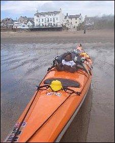 James Bonell's kayak at Aberdaron, Gwynedd