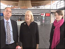 Cheryl Gillan (centre) with Welsh assembly Tory leader Nick Bourne and Welsh Lib Dem leader Kirsty Williams