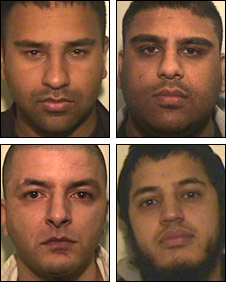 Gang members (left to right, clockwise) Suhail Tufail, Mohammed Arfan Rasool, Kibriya Ahmad and Raja Zahid Iqbal