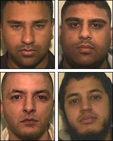 Gang members (left to right, clockwise) Suhail Tufail, Mohammed Arfan Rasool, Kibriya Ahmad and Raja Zahid Iqbal