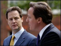 David Cameron and Nick Clegg Hold Their First Joint News Conference