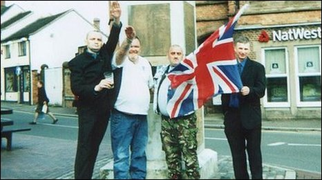 Image of Stoke-on-Trent councillor Steve Batkin with men petforming Nazi salute in either 2002 or 2003