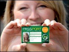 Newport University student Gemma Aubrey, 21, show off her Passport card