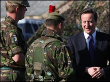 Mr Cameron meeting Black Watch soldiers