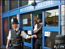 Police outside Beckton Globe Library