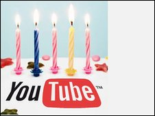YouTube with 5 birthday candles