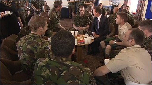David Cameron and troops