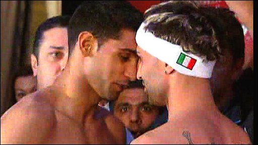Tempers flare as Amir Khan and Paulie Malignaggi weigh-in
