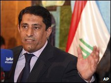 Iraqi electoral commission official Qassim al-Aboudi speaks to reporters in Baghdad, 14 May