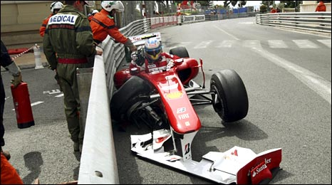 Ferrari's Fernando Alonso crashes out at Massenet in final practice