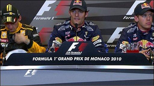 Red Bull's Mark Webber with Robert Kubica and Sebastian Vettel