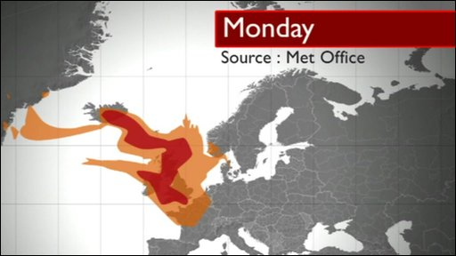 The ash cloud on a weather model