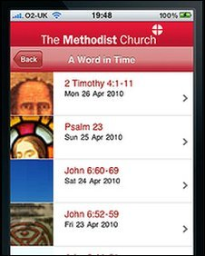 Screen grab of Methodist Church app. Copyright: Trustees for Methodist Church Purposes