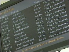 Flights have been cancelled at all UK airports