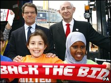 Lord Triesman and England manager Fabio Capello at a Back the Bid event