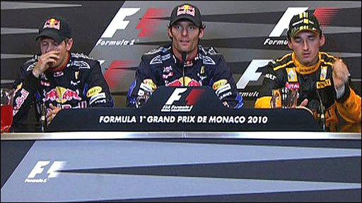 Red Bull driver Sebastian Vettel, team-mate Mark Webber and  Renault's Robert Kubica
