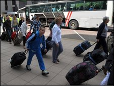 Passengers at Manchester Airport