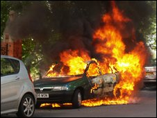 The abandoned Astra on fire