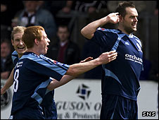 Martyn Fotheringham celebrates his early goal for Forfar