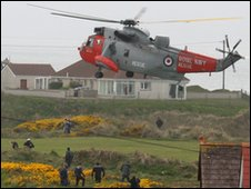 Royal Navy Sea King helicopter arrives from Scotland to assist the rescue operation (Picture by Paul McFarland)
